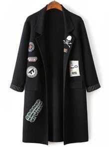 Black Shawl Collar Roll Sleeve Patch Long Sweater Coat