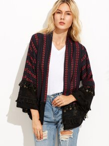 Navy Flower Print Crochet And Coin Fringe Trim Kimono