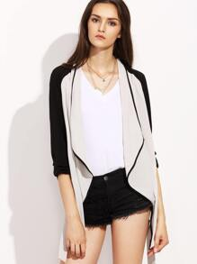 White Contrast Sleeve Self Tie Drape Coat