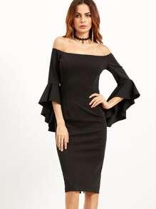 Black Bell Sleeve Off The Shoulder Pencil Dress