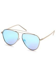 Gold Metal Frame Blue Lens Aviator Sunglasses