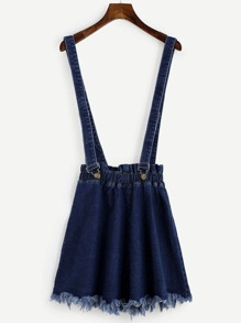 Blue Raw Hem Denim Strap Skirt
