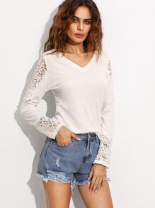 White Appliques Lace Insert Long Sleeve T-shirt