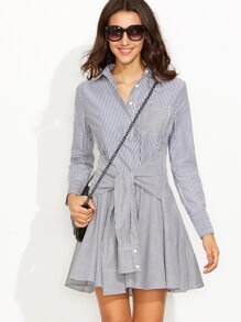Navy Striped Sleeve Tie A Line Shirt Dress