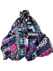 Purple New Arrival Printed Cotton Soft Wide Scarf For Ladies