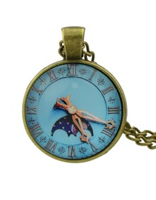 Lightblue Pocket Watch Pendant Necklace