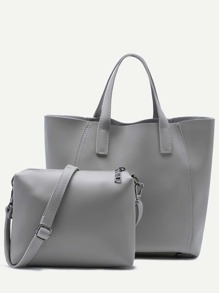 Grey Faux Leather Tote Bag With Crossbody Bag