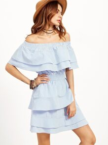 Blue Striped Off The Shoulder Layered Ruffle Dress