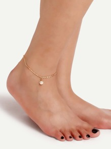 Gold Single Faux Pearl Chain Link Anklet