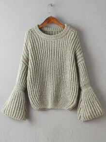 Grey Drop Shoulder Lantern Sleeve Oversized Sweater