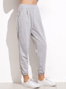 Grey Elastic Waist Pocket Pants