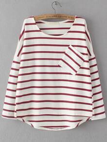 Red Dropped Shoulder Seam Striped Dip Hem Pocket T-Shirt