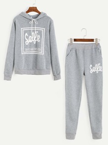Grey Letter Print Hooded Top With Pants
