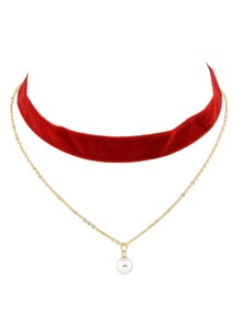 Red Gothic Wide Velvet Choker Chain Necklace