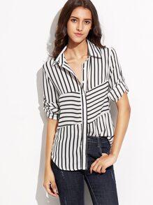 Black White Striped Curved Hem Shirt