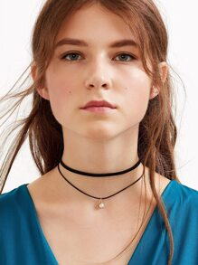 Black Faux Leather Crystal Choker Double Layered Necklace