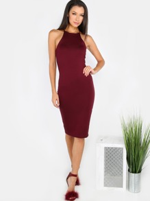 High Neck Bodycon Dress BURGUNDY