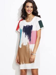 White Brush Stroke Print Shift Dress