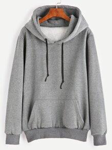 Grey Pocket Drawstring Hooded Sweatshirt