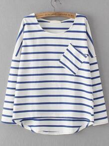 Blue Dropped Shoulder Seam Striped Dip Hem Pocket T-Shirt