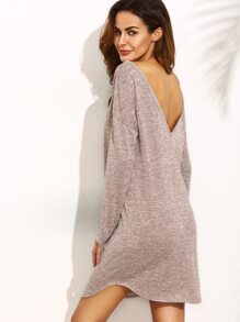 Dark Pink V Back Long Sleeve Shift Dress