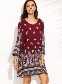 Multicolor Print In Burgundy Shift Dress