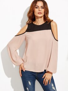 Color Block Cold Shoulder Long Sleeve Blouse
