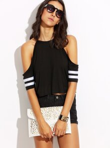 Black with White Stripe Cold Shoulder Crop Top