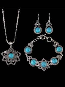 Blue Indian Design Imitation Turquoise Necklace Bracelet Earrings Set