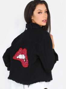 Sequins Lips Distressed Denim Jacket BLACK