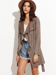 Brown Faux Suede Waterfall Wrap Coat