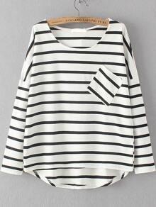 White Dropped Shoulder Seam Striped Dip Hem Pocket T-Shirt