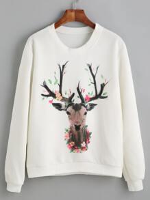White Deer Print Sweatshirt