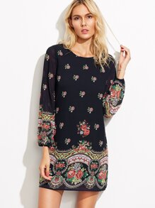 Black Rose Print Lantern Sleeve Dress