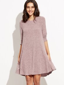 Burgundy Marled Knit Ribbed Swing Dress