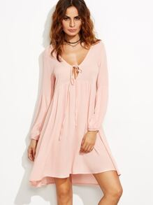 Pink Deep V Neck Lace Up Lantern Sleeve Dress
