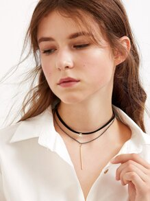 Black Double Layer Metal Bar Pendant Choker Necklace