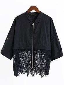 Black Elbow Sleeve Lace Trim Zipper Up Coat