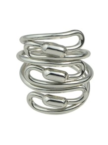 Silver Braided Metal Statement Ring