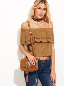 Camel Faux Suede Off The Shoulder Layered Ruffle Top