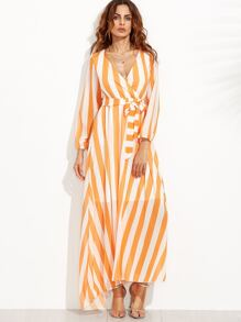 Vertical Striped Deep V Neck Self Tie Dress