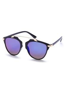 Black Retro Round Sunglasses With Elbow Bar