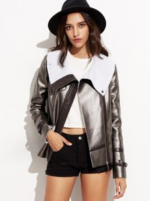 Metallic Grey Faux Leather Zip Up Aviator Jacket