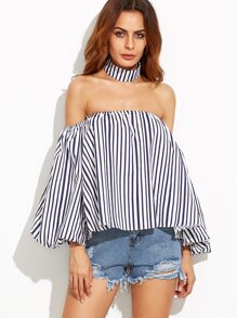 Vertical Striped Off The Shoulder Top With Choker