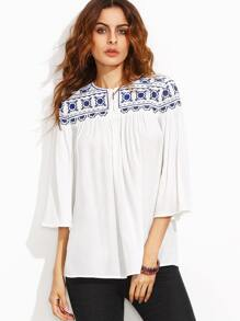 White Button Front Embroidered Yoke Bell Sleeve Tunic Blouse