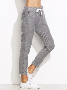 Grey Vertical Striped Drawstring Waist Pants