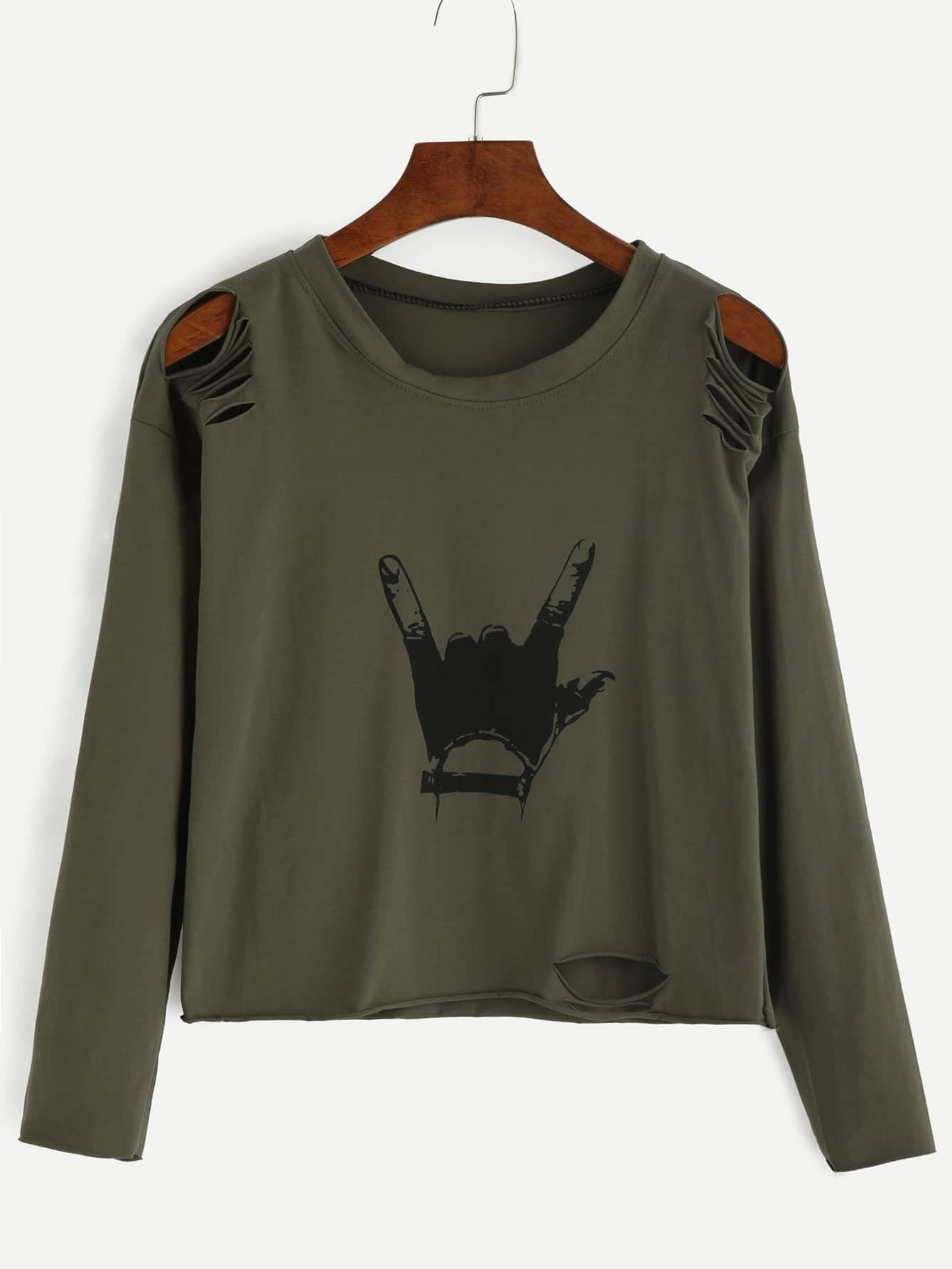 Army green gesture print distressed t shirt emmacloth for How to make a distressed shirt