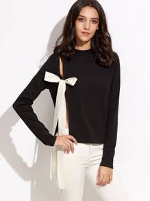Black Mock Neck Split Bow Tie Front T-shirt