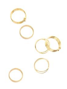 Gold Wrap Ring Set 6PCS