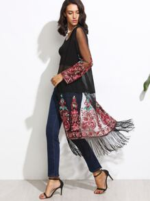 Black Long Fringe Mesh Kimono With Embroidered Applique Detail